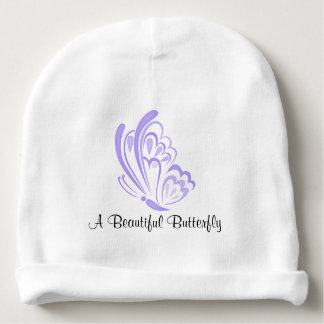 Purple Butterfly Embellishment Baby Beanie