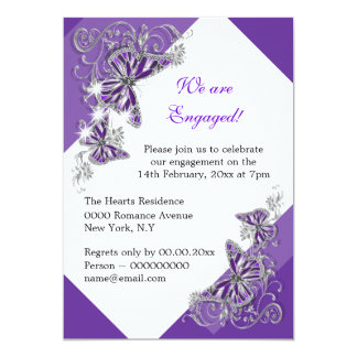 Purple butterfly engagement wedding anniversary card