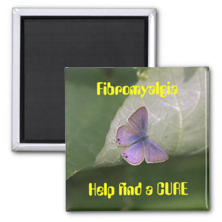 purple butterfly, Fibromyalgia Help find a CURE Refrigerator Magnet