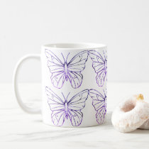 Purple butterfly Fibromyalgia White Mug
