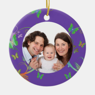 Purple Butterfly Frame Christmas Ornament