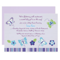 Purple Butterfly Garden Baby Shower Card