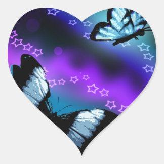 Purple Butterfly Genesis Heart Sticker