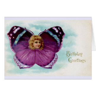 Purple Butterfly Girl Vintage Birthday Card