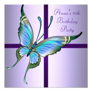 Purple Butterfly  Girls10th Birthday Party 5.25x5.25 Square Paper Invitation Card