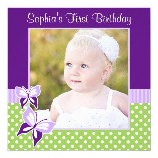 Purple Butterfly Green Polka Dot Birthday Photo Announcements