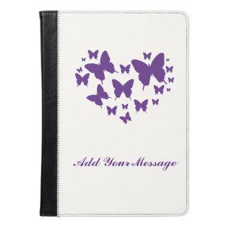 Purple Butterfly Heart Cute Folio Case