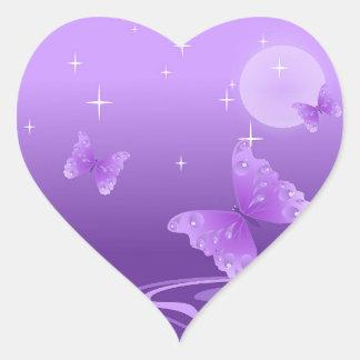 PURPLE BUTTERFLY HEART STICKER