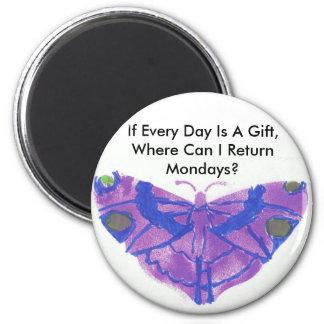 purple butterfly humorous fridge magnet