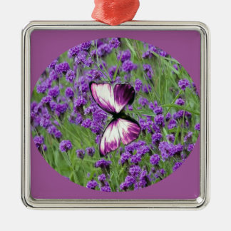 Purple_Butterfly_Lavender, Square Metal Christmas Ornament