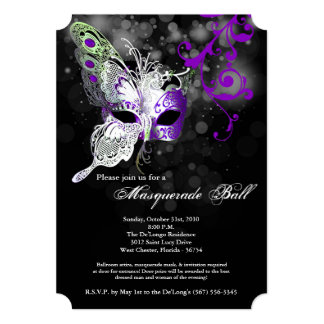 Purple Butterfly Masquerade Mask Costume Halloween Card