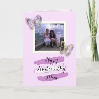 Purple Butterfly Mother Daughter Photo Mothers Day Card