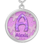 Purple Butterfly Necklace~Letter A~Customize Name Round Pendant Necklace