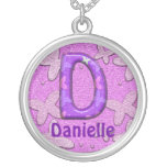 Purple Butterfly Necklace~Letter D~Customize Name Round Pendant Necklace