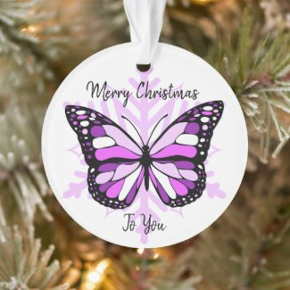 Purple Butterfly on a Snowflake Christmas Ornament