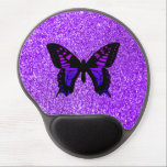 """Purple Butterfly on Glitter Gel Mouse Pad<br><div class=""""desc"""">Purple butterfly graphic against a tinted photo of fine particle glitter with unfocused light bokeh sparkles and corners for effect. Photo looks like sparkly sandpaper. Add a personalized text message or monogram for a trendy gift.</div>"""