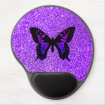 Purple Butterfly on Glitter Gel Mouse Pad