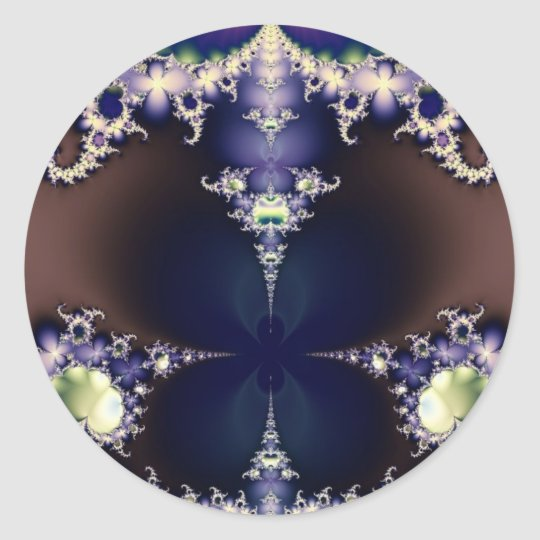 Purple Butterfly on Ice Crystals Fractal Art Gifts Classic Round Sticker