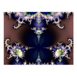 Purple Butterfly on Ice Crystals Fractal Art Gifts Postcard