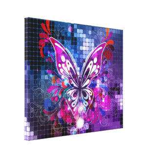 Purple butterfly on mosaic background Canvas Print