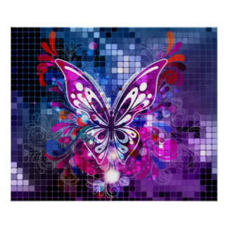 Purple butterfly on mosaic background Poster