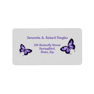 Purple butterfly on silver background Label Address Label