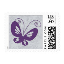 Purple butterfly on silver floral Wedding Postage