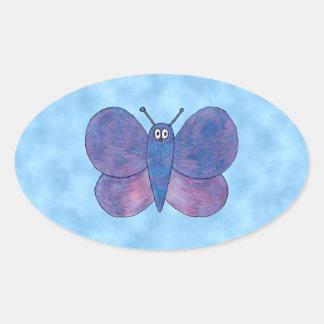 Purple Butterfly. Oval Sticker