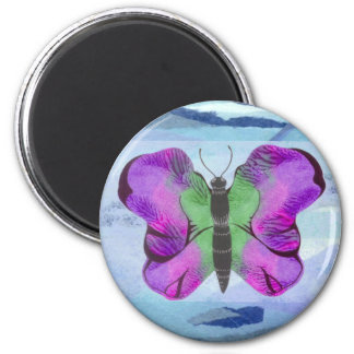 Purple Butterfly Painting 2 Inch Round Magnet