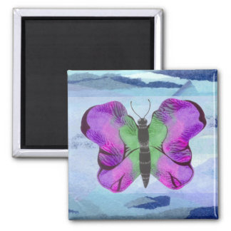 Purple Butterfly Painting 2 Inch Square Magnet