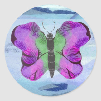 Purple Butterfly Painting Classic Round Sticker