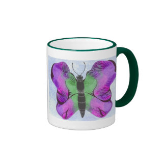 Purple Butterfly Painting Ringer Mug