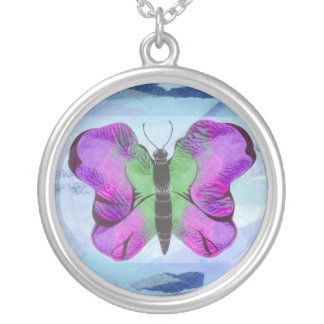 Purple Butterfly Painting Round Pendant Necklace