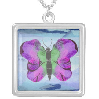 Purple Butterfly Painting Square Pendant Necklace