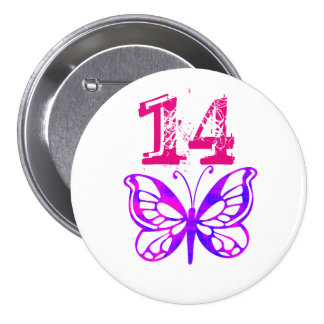 Purple butterfly, pink '14' button for age 14.