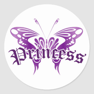 Purple Butterfly Princess Classic Round Sticker