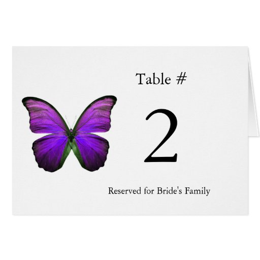 Purple Butterfly Reception Table Number Greeting Card
