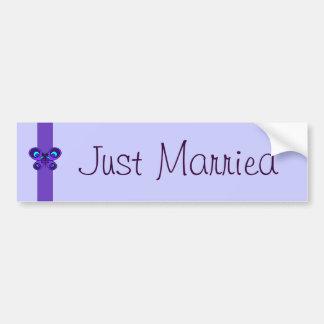 Purple Butterfly Ribbon Wedding Car Bumper Sticker