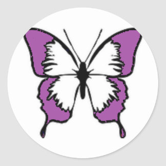 Purple Butterfly Round Stickers