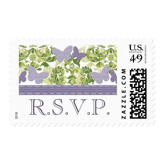 Purple Butterfly RSVP Postage Stamps