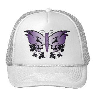 Purple Butterfly Skull Trucker Hats