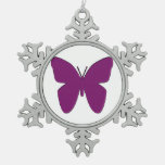 Purple Butterfly Snowflake Christmas Tree Ornament