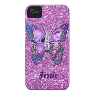 Purple Butterfly sparkle iPhone 4 Case