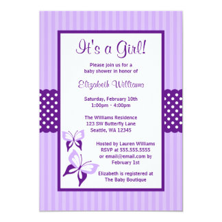 Purple Butterfly Stripes and Dots Baby Shower 5x7 Paper Invitation Card