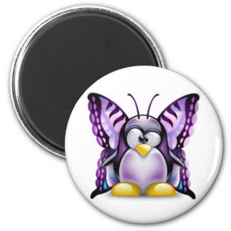 Purple Butterfly Tux (Linux Tux) 2 Inch Round Magnet