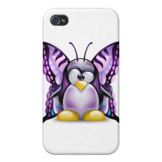 Purple Butterfly Tux (Linux Tux) iPhone 4/4S Cases