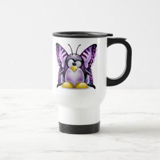 Purple Butterfly Tux (Linux Tux) Mugs