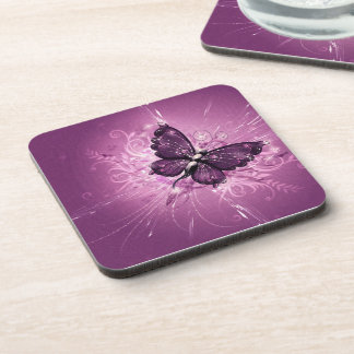 purple butterfly vector art drink coaster