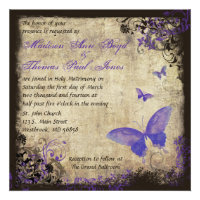 Purple Butterfly Vintage Square Wedding Invitation (<em>$2.20</em>)