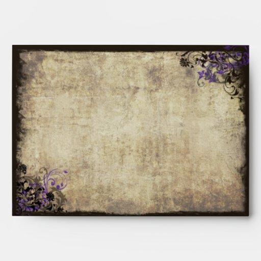 Purple Butterfly Vintage Wedding Envelope